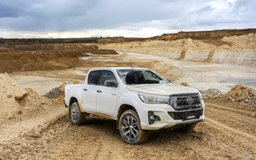 Picture white, the sky, Toyota, pickup, Hilux, Special Edition, quarry, 2019