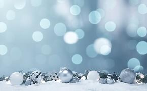 Picture winter, balls, snow, snowflakes, glare, background, holiday, blue, balls, Christmas, New year, white, needles, bokeh, …