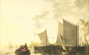 Picture landscape, boat, oil, picture, sail, View of the river, Albertus Brondgeest, 1849, Albertus Brodcast