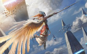 Picture magic, armor, mask, pyramid, red, spear, Valkyrie, in the sky, valkyrie, white wings, by Pindurski