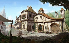 Picture house, fantasy, street, art, 2d, Medieval Art Nouveau Village, pocelo, Moon Rod