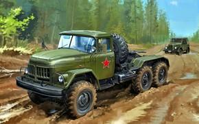 Picture Forest, USSR, ZIL, GAZ-69, Dirt road, ZIL-131В, Tractor