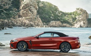 Picture roof, sea, rocks, shore, BMW, convertible, side view, 2019, BMW M8, M8, F91, M8 Competition …