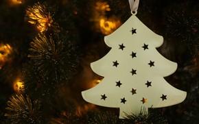 Picture the dark background, holiday, toy, Christmas, New year, herringbone, needles, Christmas decorations, новогодние декорации