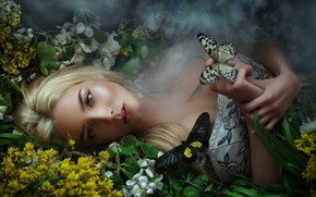 Wallpaper smoke, dress, Butterfly, lies, Maria Lipina, Katerina Shiryaeva