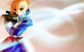 Picture girl, background, sword, the saber, Fate stay night, Excalibur, Fate / Stay Night