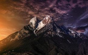 Picture forest, the sky, clouds, light, sunset, mountains, rendering, the slopes, tops, height, treatment, the evening, …