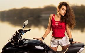 Picture girl, pose, hair, shorts, motorcycle, Ducati, Ilya Pistols