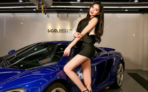 Picture auto, look, McLaren, Girls, Asian, beautiful girl, posing on the car