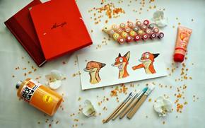 Picture flower, flowers, box, paint, orange, Notepad, brush, Mandarin, zeropolis, acrylic paint, nick wild