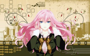Picture line, collage, arrows, butterfly, Ruski, hands, blue eyes, vocaloid, bow, megapolis, Vocaloid, pink hair, Megurine …