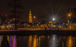 Picture night, lights, home, lights, channel, Netherlands, Groningen