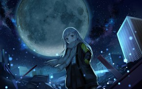 Picture girl, night, the city, the wind, the moon, scarf