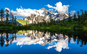 Picture clouds, trees, mountains, lake, reflection, Mountain Shuksan, The cascade mountains, Washington State, Cascade Range, Picture …