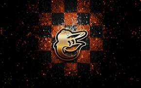 Picture wallpaper, sport, logo, baseball, glitter, checkered, MLB, Baltimore Orioles