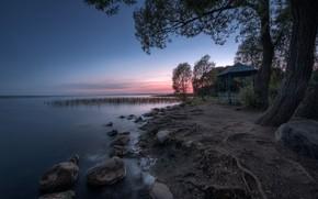 Picture summer, trees, landscape, nature, stones, dawn, shore, morning, gazebo, dawn, Andrei, Pereslavl, Plescheevo lake