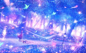 Picture forest, girl, fantasy, fairy forest