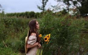 Picture girl, flowers, dress, Eugene Pyatnitskaya