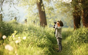Picture forest, boy, binoculars, path
