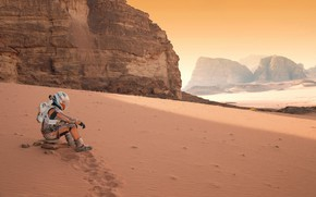 Picture sand, space, mountains, the film, astronaut, 2015, Martian, The Martian, планета Марс