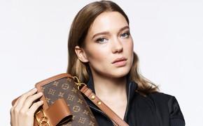 Picture look, pose, model, makeup, actress, Lea Seydoux, Lea Seydoux, Louis Vuitton bag