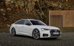 Picture white, Audi, sedan, hybrid, AWD, Audi A6, four-door, 2020, A6, A6 Sedan, 55 TFSI and …