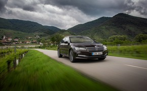 Picture mountains, sedan, cloudy, Skoda, Skoda, four-door, Superb, 2020, the color is a dark unfiltered beer