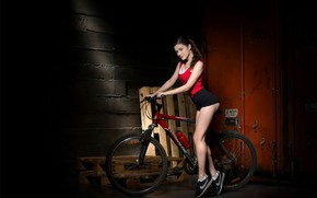 Picture bicycle, black, hot girl, exotic, posing, red top, Amelia, beautiful face, indoors, sexy brunette, stimulating, …