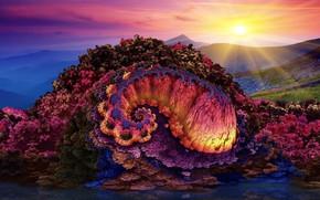 Wallpaper bright colors, hills, 3D art, flower hill, flower hill