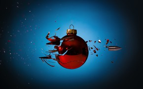 Picture fragments, bullet, Christmas ball