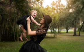 Picture joy, nature, woman, dress, girl, mom, child, mother, daughter