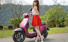 Picture look, Girls, Asian, beautiful girl, scooter, posing on scooter, SYM Mii110