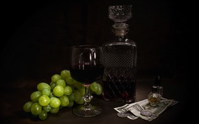 Picture the dark background, wine, glass, bottle, money, perfume, grapes, alcohol, coins, fruit, still life, bills, …