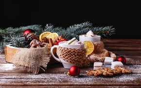 Picture photo, Balls, Board, New year, Cup, Food, Cookies, Marshmallow