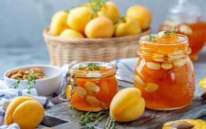 Picture glass, towel, jars, banks, fruit, nuts, basket, a lot, dessert, jam, sweet, jam, apricots, cutting …