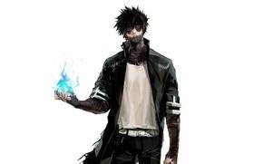 Picture art, white background, Fanart, Boku no Hero Academy, My Hero Academia, Dabi, My Hero Academy, …