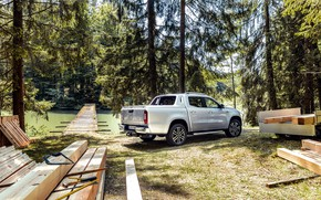 Picture trees, Mercedes-Benz, pickup, 2018, timber, X-Class, gray-silver