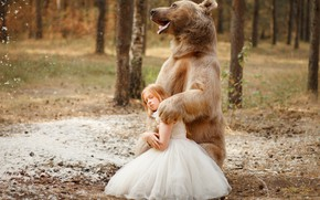Picture forest, pose, dress, bear, girl, the Bruins, Svetlana Nicotine