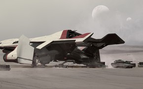 Picture The plane, The moon, Tank, Art, Satellite, Game, Transport, Spaceship, Star Citizen, Jet, Crusader, Science ...