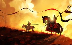 Picture Figure, Fire, Knights, Fantasy, Art, Knight, War, Concept Art, Dominik Mayer, Environments, by Dominik Mayer, …