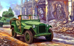 Picture soldiers, USSR, Military, T-34-85, The Red Army, four-wheel drive, car, GAZ-67B