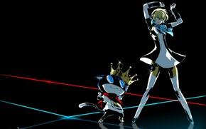 Picture cat, girl, dance, Persona 5 Dancing in Starlight