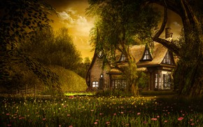 Picture summer, the sky, leaves, clouds, light, trees, landscape, sunset, flowers, branches, nature, comfort, house, rendering, …