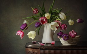 Picture bouquet, tulips, colorful