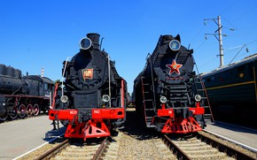 Picture the sky, pair, locomotives
