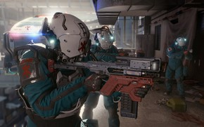 Picture weapons, soldiers, armor, Cyberpunk 2077, Cyberpunk