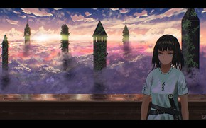 Picture girl, clouds, sword, fantasy, tower