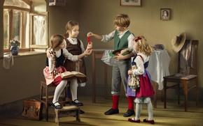 Picture children, berries, table, room, girls, boy, window, currants, treat, Dmitry Usanin, Dmitry Yanin