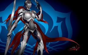 Picture weapons, background, the game, soldiers, armor, the exoskeleton, vector graphics, Warframe