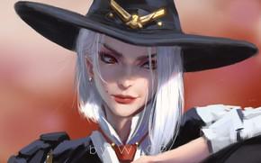 Picture girl, fantasy, game, hat, red eyes, digital art, artwork, fantasy art, Ashe, fantasy girl, Overwatch, …